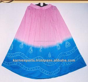 التنانير الهندية التقليدية 2015، أزياء التعادل صباغة التنورة الغجرية/ متعددة-- لون القماش القطني القطن في تنورة طويلة