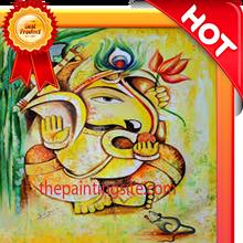 Handmade modern oil painting of ganesha on canvas