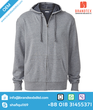 Latest Design OEM 2015 new fashionable Custom clothing Men's Sweatshirt with Hood long sleeve Zip through Jacket