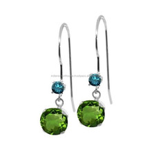 Chrome Diopside and Blue Topaz Earrings in silver plated metal