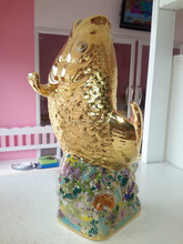 Benjarong Porcelain Lucky Fengshui Gold Fish Statue