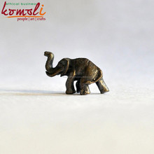 Bronze Tiny Elephant Miniature Statue - Brown Color African Elephant Sculpture - Micro Miniature Animal Figures
