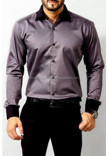 2015 latest Italy fashion design style New arrival contrast color men broadcloth slim fit casual dress shirt