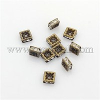 Brass Rhinestone Spacer Beads, Grade A, Nickel Free, Square, Antique Bronze Color, 5x5x2.5mm, Hole: 2.5mm RB-A013-5x5-01AB-NF