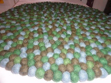 Felt Mats / Round/ Nepal/Handmade/ 140 cm /Greenish color