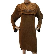 Brown Rayon Kurti Blouse Women Floral Embroiderer Long Sleeves Summer Wear India Sz M CKL1599