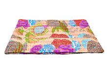 Tropical Fruit Reversible Kantha, Beige Designer Gudri, Pure Cotton Blanket, Indian Bohemian Hippie Bedspread