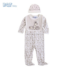 Long Sleeve 3PCS Set/One Piece 100% Cotton Baby Boys Newborn Baby Clothing