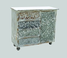 INDIAN MANGO WOOD PAINTED CARVED WHITE FINISH SIDE BOARD