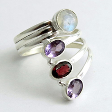 Amazing Garnet_Rainbow Moonstone_Amethyst 925 Sterling Silver Jewelry, Indian Fashion Silver Jewelry, Unique Silver Jewelry