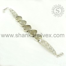 Wholesale Silver Jewelry, Golden Rutile 925 Sterling Silver Bracelet, Handmade Indian Silver Jewelry