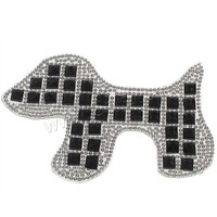 Glass Iron on Nailheads Rhinestone with Glue Film & Glass Dog faceted & two tone 97x70x4mm 100PCs/Bag Sold By Bag