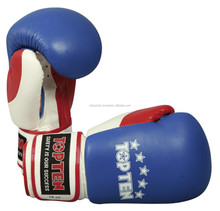 "TOP TEN ""FIGHT"" 10oz Boxing Gloves Tricolour Blue/Red/White"