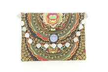 Ethnic Thai Clutch Beautiful Golden Flower Pattern