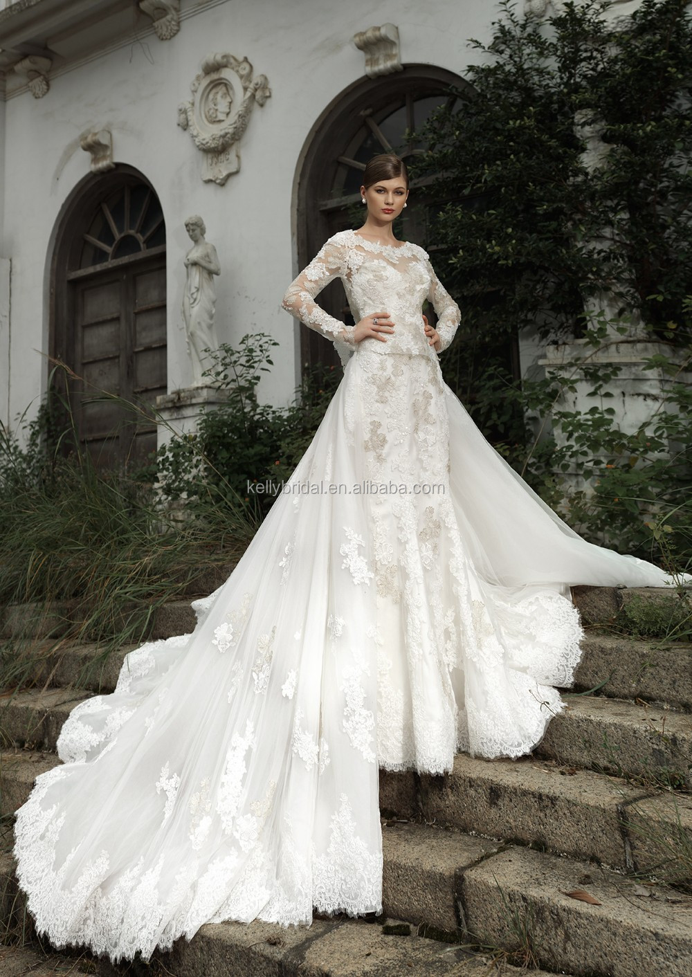 Zm16005 Custom Unique Wedding Dresses Bridal Gowns With High Neck ...