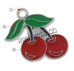 Zinc Alloy Fruit Shape Pendants Cherry plated Customized & enamel more colors for choice nickel lead & cadmium free 24x21x2mm H
