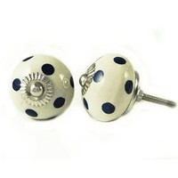 Polka Dot Round Shape Furniture Knob Ceramic Drawer Pull Cabinet Knobs 2 Pcs