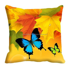 Mustard Leave Fast Color Beautiful Butterfly 16x16 inch 3D Cushion Digital Sublimation Printed Sofa Cushion Cover