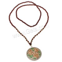 Glass Sweater Chain Necklace Zinc Alloy with Glass Flat Round rose gold color plated enamel & with rhinestone & hollow nickel l