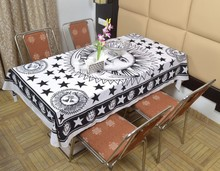 Indian Cotton Table Cloth Black & White Sun & Moon Printed Dinning Table Cloth Vintage Wall Hanging Throw Bed Sheet Cover TC70