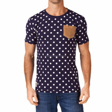 polka dots sublimated t-shirt with contrast pocket on left chest side