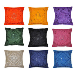 Handmade Indian Designer Home Decorative Cotton Embroidered Mirror Work Cushion Covers
