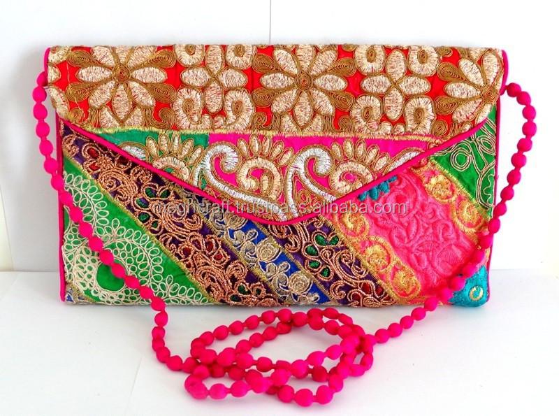 Pink Party Clutch Purse-Vintage Patch Work Handbag ...