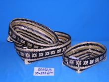 Artex Thanglong - Decorative woven shallow storage basket, weaving bamboo storage basket (set of 3)