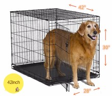 Pet folding Crates Puppy Dog Cat metal foldable cages 42 inch with handle