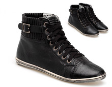 2015 NEW Trendy Jogging Trainer Black Eco Leather Running Sneakers Sport sizes Shoes 63073