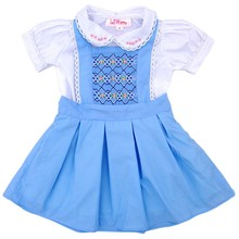 Blue flower and geometric smocked outfits - LA 016