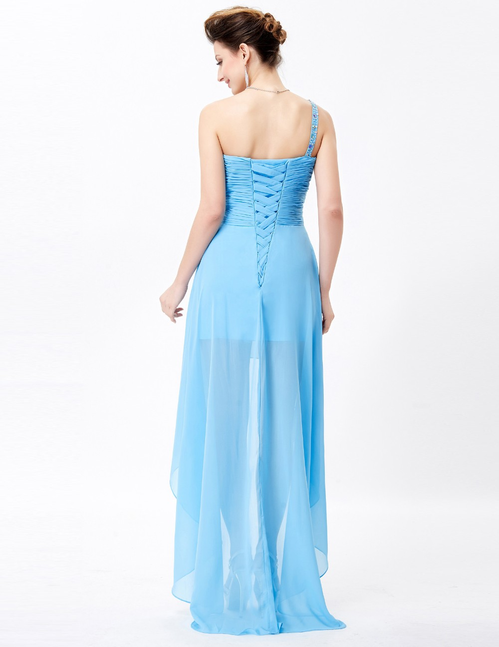 Grace Karin Short Front Long Back One Shoulder Sky Blue Chiffon ...