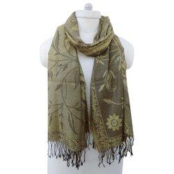 Long Stole Poly Wool Reversible Floral Design Neck Wrap Women Wear Shawl BSH1055