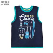 Classics Beach Design Sleeveless Boys Shirt Designs for Promotional