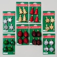 ORNAMENT MINI 4PK GLASS-LOOK 4SHAPES TREE/CONE/ONION/STAR EA #G91317