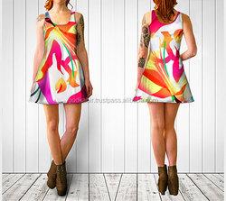 Summer dress, digital print dress, festival dress, graphic print dress, yellow, white and pink dress