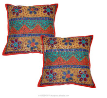 Rangasthali Traditional Kantha Work Rajasthani Print Multicolour Cushion Cover Set-2 pcs