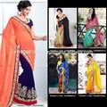 Lacha pesada sari estilo lehenga piedra | saris trabajo