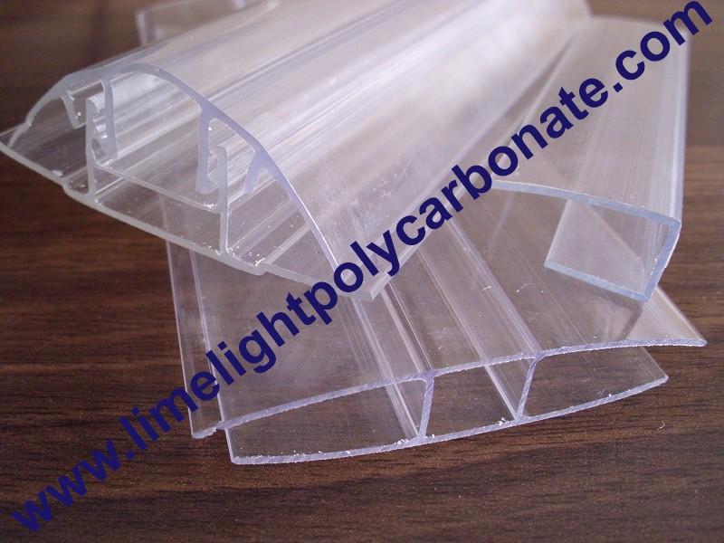 Polycarbonate sheet profile polycarbonate cap and base for Fixation plaque polycarbonate alveolaire