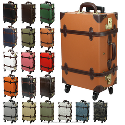 trolly carry on suitcase luggage Japan classical design wholesale vintage style PVC leather trolley luggage suitcase on wheels