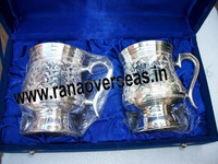 Silver Plated Bear Mug, Whisky Cups, Silver Plated Whisky Mugs