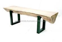Teak bench with metal legs
