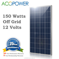 ACOPOWER 150w Polycrystalline Photovoltaic PV Solar Panel Module with MC4 Connectors 12v Battery Charging