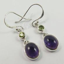 Fabulous Genuine PERIDOT & AMETHYST Gemstone Hot Fashion Earrings 925 Solid Sterling Silver ! Best Gift Store