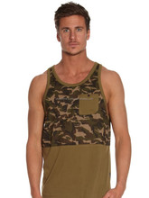high quality cotton stylish military camo y back stringer tank top singlet with pocket on left chest side
