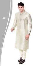 Off white Designer Silk Kurta With Churidar.