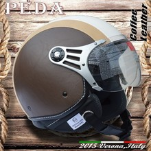 (Coffee Leather) 2015 NEW ECE DOT motorcycle helmet for sale CASCO vintage leather Italian open face (PEDA MOTOR hight quality)