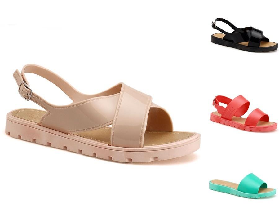 2015 Trendy Ladies Jelly Rubber Sandals Flat Fancy Women ...