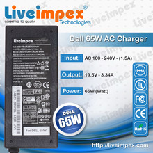 ROHS, UL, FCC passed laptops new high quality chargers for dell 65w laptops 19.5V 3.34A out put