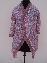 High quantity 100% cotton cheap hotel white robe / Beautiful hand block printed design bathrobe for woman